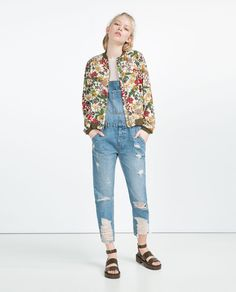 Image 1 of FLORAL PRINT BOMBER JACKET from Zara