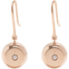 Aurélie Bidermann Fine Jewellery Bell diamond & rose-gold earrings ($671) ❤ liked on Polyvore featuring jewelry, earrings, engraved earrings, rose gold diamond earrings, pink gold earrings, rose gold earrings and clover jewelry