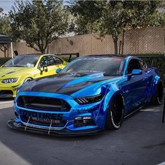 Ford Mustang Modified Slammed Chrome Blue Mustang GT https://www.foraymotorgroup.co.uk/ford-store/mustang #asphaltassassins
