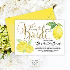 Lemon Bridal Shower Invitation - Fresh Lemon and Faux Gold Glitter Invitation Printable Italian Bridal Shower Fresh Squeezed Lemonade