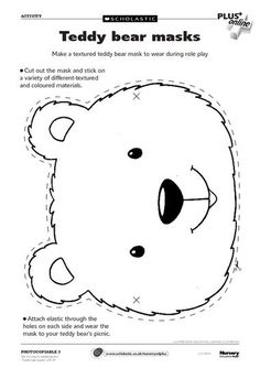 early play templates: Teddy Bear Mask templates to print out Teddy Bear Crafts, Teddy Bear Day, Picnic Birthday, Bear Birthday, Polar Bear Party, Bears Preschool, Bear Mask, Picnic Activities, Picnic Games