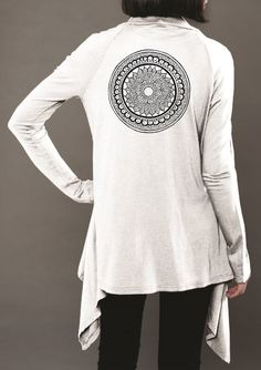 BelaBela Jersey Wrap with Large Black Mandala - White Find this and other Yoga Clothing at http://downdogboutique.com/