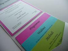 Bright Multi Coloured Pocketfold style Wedding Invitation Inserts