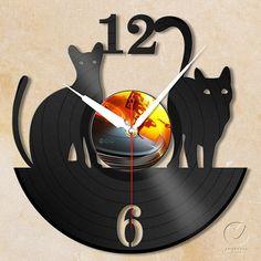 vinyl wall clock cats by Anantalo on Etsy, ฿1100.00