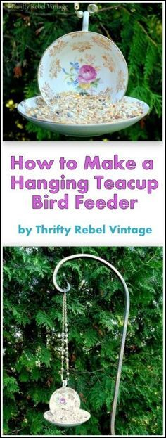 Every garden can use a little whimsy. Make a lovely hanging teacup and saucer bird feeder and feed your birds in style.