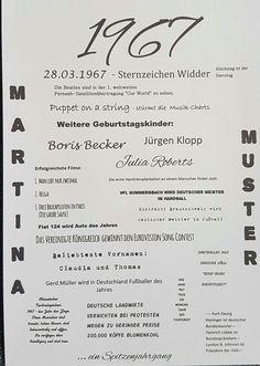 Der Jahrgang 1967 - in diesem Jahr steht der 50. Geburtstag an. Dieser Druck ist ein tolles und sehr individuelles Geburtstagsgeschenk. Hier finden sich interessante Ereignisse aus Kultur, Sport...