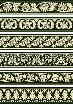 Buy Indian Floral Borders by pvg on GraphicRiver. A series of floral borders based on East Indian patterns. Border Pattern, Border Design, Pattern Art, Pattern Design, Carving Designs, Stencil Designs, Border Embroidery Designs, Embroidery Patterns, Damask Decor