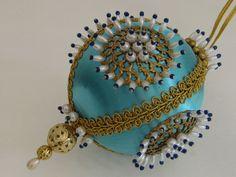 Vintage Aqua Beaded Christmas Ornament, Handmade, Seasonal