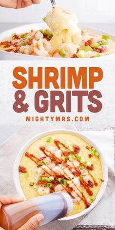 You'll love this easy and delicious Southern Shrimp and Grits recipe made with creamy cheesy shrimp and grits are made with grilled or blackened shrimp, cheesy grits, topped with bacon and BBQ sauce. This southern Charleston classic is simple to make a home and tastes like a restaurant dish! Quick and easy enough for weeknight dinner but impressive enough to serve a dinner party. Watch the video to learn how to make this yummy southern style shrimp and grits with bacon and barbecue sauce! Brunch Recipes, Easy Dinner Recipes, Appetizer Recipes, Dinner Ideas, Breakfast For A Crowd, Breakfast Ideas, Breakfast Recipes, Southern Shrimp And Grits, Shrimp N Grits