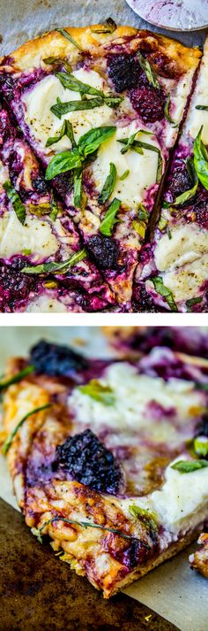 A simple pizza for lazy summer nights! It is mostly cheese and blackberries, which is a fabulous combo. Plus basil! Easy and fresh.