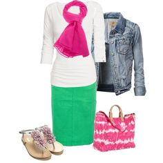 """Pink, Green, White, Beige / Nude, Denim Outfit """"Untitled #158"""" by candi-cane4 on Polyvore"""