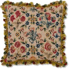 needlepoint images | Carnation Needlepoint Pillow - Floral Pillows at NeedlepointPillows ...