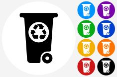 Recycling Garbage Can Icon on Flat Color Circle Buttons vector art illustration
