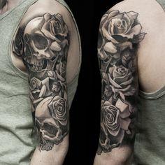 Skull And Flames Sleeve Tattoos Rose Flowers And Skull Tattoo On