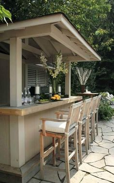Creative and Simple Yet Affordable DIY Outdoor Bar Ideas. homemade outdoor bar ideas diy outdoor bar top ideas diy outdoor bar table ideas diy outdoor patio bar ideas diy bar ideas for basement Outdoor Patio Bar, Patio Bar Stools, Patio Bar Set, Backyard Bar, Outdoor Kitchen Design, Diy Patio, Patio Ideas, Outdoor Living, Outdoor Bars