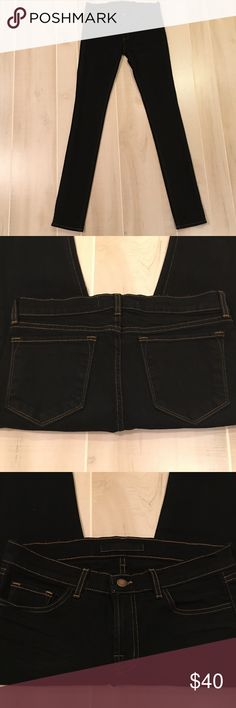"""Like New J Brand 912 Pencil Leg Black Jeans 28x35 Jeans are in Mint, like new condition.  They were worn once.  True Black with tan stitching.  Style # 912.  Inseam is approx 35"""".  Waist laying flat is approx 15"""".  Rise laying flat is approx 8"""".  2% Spandex. J Brand Jeans Skinny"""