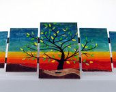 TREE OF LIFE wall art  - fused glass rainbow panel - 5 pc five pieces tree of life etsy