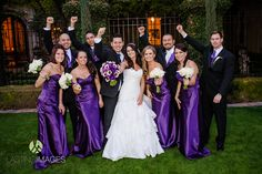 Shiny purple strapless bridesmaid dresses and groomsmen in ties to match | Lasting Images Photography | villasiena.cc