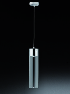 FL2333/1 Frenzy single clear empty tubular pendant, chrome. Frenzy 1Lt Empty Pendant in clear glass on a chrome finish and clear cable suspension. The empty glass can be filled with any (lightweight) item of your choice to compliment your kitchen or any business e.g. flowers, pasta, a display of jewellery etc.  1 x 5W LED GU10 lamp which illuminates the contents and is not suitable for dimming, included  Height- 130cm Minimum Height- 52cm Diameter- 10cm BRAND- Franklite REFERENCE- FL2333/1…