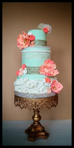 Mint  coral and gold cake Sweet Samantha