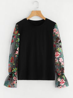 SheIn offers Embroidered Mesh Sl - Sweat Shirt - Ideas of Sweat Shirt - Shop Embroidered Mesh Sleeve Sweatshirt online. SheIn offers Embroidered Mesh Sleeve Sweatshirt & more to fit your fashionable needs. Teen Fashion Outfits, Modest Fashion, Hijab Fashion, Floral Mesh Top, Floral Tops, Embroidered Sweatshirts, Sweat Shirt, Western Wear, Blouse Designs