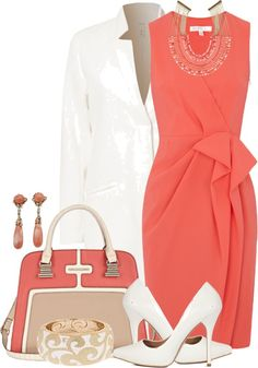 Coral and white outfit