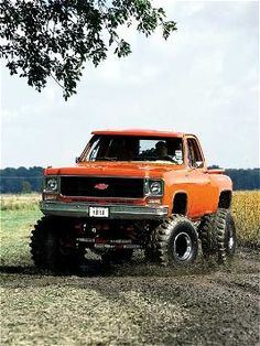 Lifted Chevy........oh my. love the color too!!