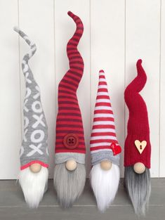 Adorable gray and red Valentine& Day gnome. Valentines Day home decor and decorations. Red and white striped decor. Christmas Gnome, Diy Christmas Gifts, Christmas Projects, Red Valentine, Valentine Crafts, Valentines Day Decorations, Craft Fairs, Craft Gifts, Holiday Crafts