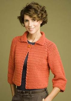 Cute Cropped Jacket: free pattern  SIZE: Small, Medium, Large, 1X, 2X   free pdf from Lion Brand