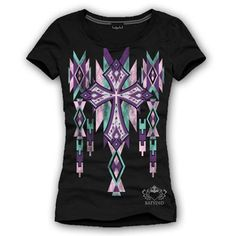 """Ever popular Black S/S Aztec Pastel Cross T-Shirt, 95% cotton and 5% spandex. $28.00 + FREE shipping when you enter the coupon code """"PINTEREST"""" during oline checkout:)"""