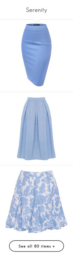 """Serenity"" by labuck88 ❤ liked on Polyvore featuring skirts, blue skirt, elastic waist skirt, pencil skirt, knee length pencil skirt, blue pencil skirt, light blue, women, blue midi skirt and cotton knee length skirt"