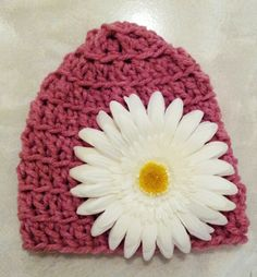 Rose crocheted  hat with removable flower