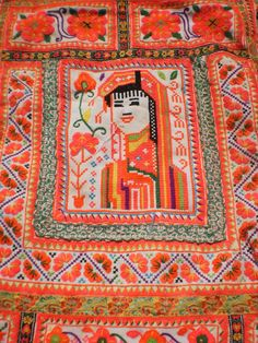 Embroided Folk Art Tribal Textile Panel By The Hmong Hilltribe People. $18.00, via Etsy.