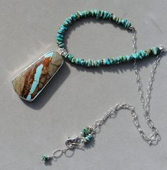 Royston Ribbon Turquoise with turquoise nuggets on by EvyDaywear