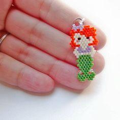 Seed Bead Mermaid Charm Beaded Mermaid Pendant Brick Stitch