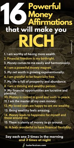 16 Powerful Money Affirmations that will make you Rich Ready to achieve your financial dreams? These 16 powerful money affirmations will propel you to take inspired action and make you wealthy in the process. Positive Affirmations Quotes, Wealth Affirmations, Morning Affirmations, Affirmation Quotes, Quotes Positive, Strong Quotes, Affirmations For Money, Positive Thoughts, Positive Vibes