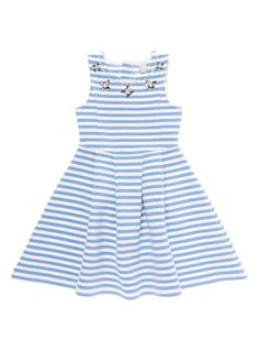 Upgrade her party wear with this divine stripe dress, crafted in ribbed fabric. This eye-catching piece features a high neckline encrusted with dazzling jewels, a fitted bodice and pleated skirt.   Light blue stripe dress Ribbed fabric High neckline Fitted bodice Pleated skirt Jewel detail Rear zip fastening Keep away from fire