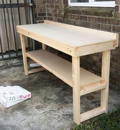 Easy DIY idea! Whitney Jones of Whitney J Decor turned this Home Depot fold-out bench into an outdoor buffet. She stained it and added a tile table top to it. It's just one of her easy outdoor ideas you can see on The Home Depot Blog. || @whitneyjdecor || Here's a link to the bench: http://www.homedepot.com/p/Unbranded-Fold-Out-Wood-Workbench-Common-72-in-Actual-20-0-in-x-72-0-in-WKBNCH72X22/203083493