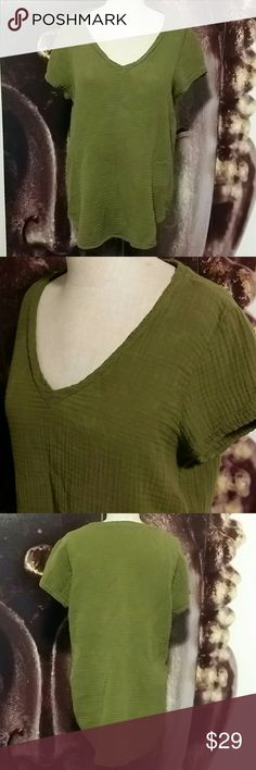 Anthropologie Olive Green Top Cloth & Stone Anthropologie  Olive Green cotton top V neck style  Size medium EUC Gently worn a few times. No fading or piling. Anthropologie Tops Blouses