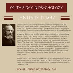 11th January, 1842. William James was born. Studying psychology? Click on image or GO HERE --> www.all-about-psychology.com for free psychology information & resources. #psychology
