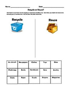 EARTH DAY - NATURAL RESOURCES UNIT - Students will determine what resources can be recycled or reused.