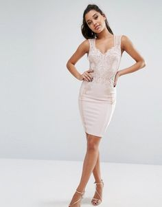 Michelle Keegan Loves Lipsy Lace Front Bodycon Dress
