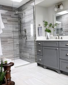 Double Bathroom Vanity Designs Ideas - If space authorizations, 2 sink areas provide wonderful benefit in shared washrooms. Locate ideas for bathroom vanities with double the space, . bathroom ideas Top 10 Double Bathroom Vanity Design Ideas in 2019 Bathroom Renos, Bathroom Flooring, Bathroom Renovations, Bathroom Interior, Bathroom Showers, Bathroom Makeovers, Boho Bathroom, Bathroom Mirrors, Minimal Bathroom