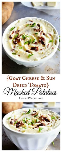 {Goat Cheese & Sun Dried Tomato} Mashed Potatoes.  Easy to make and bursting with flavor.  Perfect Thanksgiving side dish.