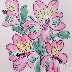 Afbeeldingsresultaat voor ink and watercolor flowers