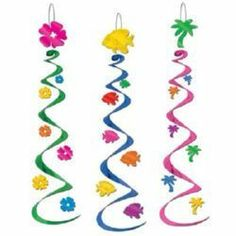 Your luau needs some colorful swirls! This comes with three different designs: hibiscus flower, fish, and palm tree! Each party whirl is 30 inches long, and looks great indoors and outdoors.