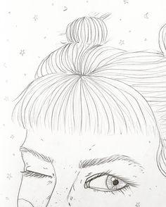 Close up of some work in progress from my sketchbook  ____________________  #illustration #art #drawing #draw #sketch #doodle #pencil #practice #workinprogress #experimentation #pencildrawing #roughsketch #sketchbook #illustrate #illustrator #design #create #creative #hair #stars #moon #girl #woman #portrait