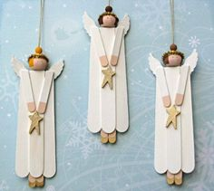 10 DIY kids to make Christmas decorations at homeHave you ever made an angel craft with popsicles? These simple Christmas crafts are perfect for kids! You will love making these homemade Christmas DIY children's Kids Christmas Ornaments, Noel Christmas, Simple Christmas, Christmas Decorations, Angel Ornaments, Ornaments Ideas, Christian Christmas Crafts, Christmas Ideas, Ornament Crafts