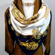 Authentic Vintage Hermes Silk Scarf Les Cavaliers D'Or White and Navy Rare Early Issue