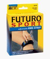 """Knee Strap Sport Adjustable, Futuro (Fut9189) One by 3M. $10.49. """"FUTURO support bandages for work, sport and leisure provide protection and support for a wide variety of joint problems.FUTURO is also ideal for preventive use.For people who need relief from symptoms of chondromalacia (irritated kneecap) or tendonitis of the knee.Provides gentle, adjustable pressure and support to tendons below the knee, facilitates proper patellar tracking.Neoprene blend strap with adjustable v..."""